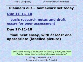 Planners out – homework set today Due 11-11-10