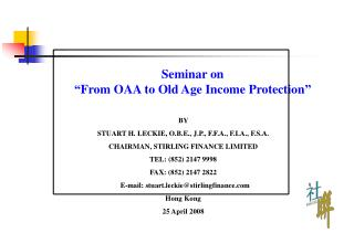 "Seminar on  ""From OAA to Old Age Income Protection """