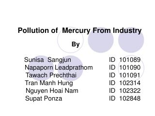 Pollution of  Mercury From Industry