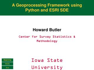 A Geoprocessing Framework using Python and ESRI SDE