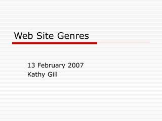 Web Site Genres