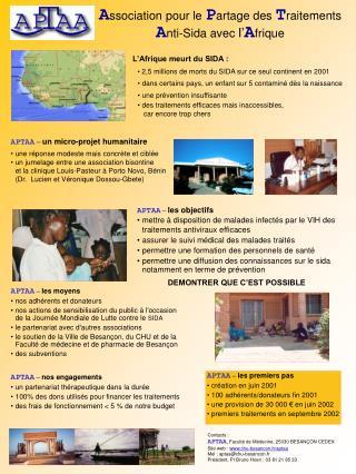 APTAA  –  un micro-projet humanitaire une réponse modeste mais concrète et ciblée