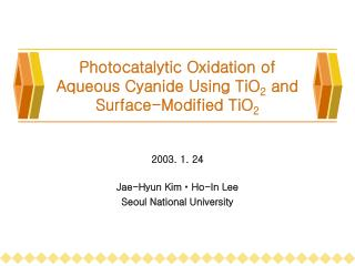 Photocatalytic Oxidation of Aqueous Cyanide Using TiO 2  and Surface-Modified TiO 2