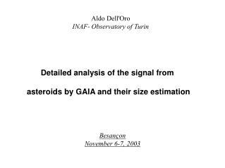Aldo Dell'Oro INAF- Observatory of Turin