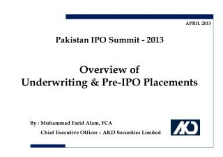 Overview of  Underwriting & Pre-IPO Placements