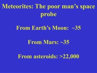 Meteorites: The poor man's space probe