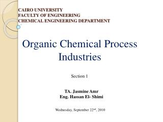 CAIRO UNIVERSITY FACULTY OF ENGINEERING CHEMICAL ENGINEERING DEPARTMENT