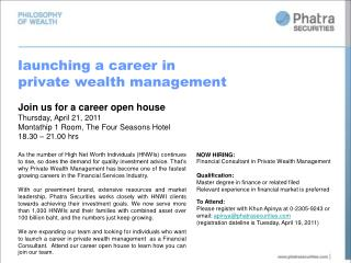 launching a career in private wealth management