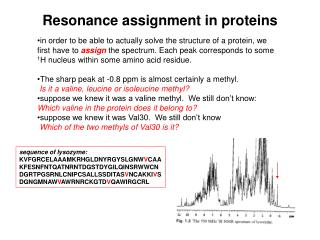 Resonance assignment in proteins