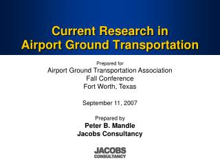 Current Research in  Airport Ground Transportation