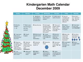 Kindergarten Math Calendar  December 2009