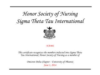 Honor Society of Nursing Sigma Theta Tau International