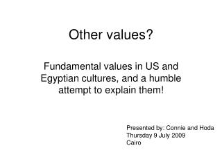 Other values?