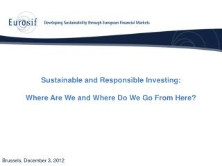Sustainable and Responsible Investing: Where Are We and Where Do We Go From Here?