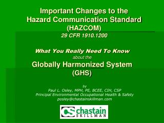 What You Really Need To Know about the Globally Harmonized System (GHS)