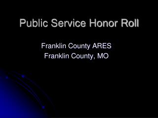 Public Service Honor Roll