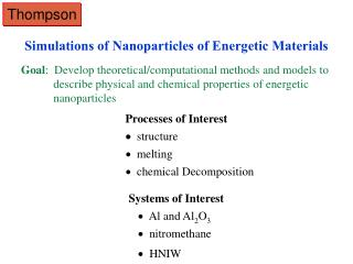 Simulations of Nanoparticles of Energetic Materials