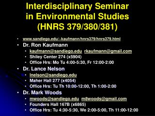 Interdisciplinary Seminar in Environmental Studies (HNRS 379/380/381)
