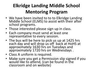 Elkridge Landing Middle School Mentoring Program