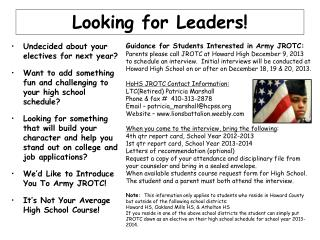 Looking for Leaders!