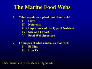 The Marine Food Webs