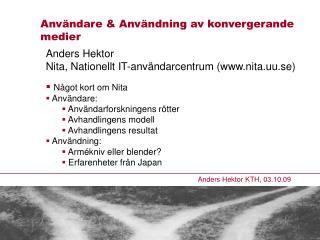 Anders Hektor KTH, 03.10.09