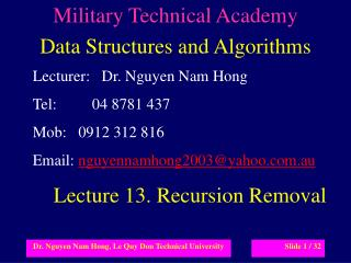 Military Technical Academy Data Structures and Algorithms