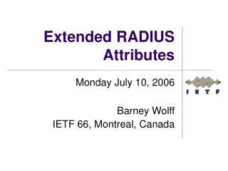 Extended RADIUS Attributes