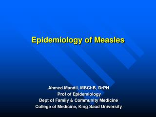 Epidemiology of Measles