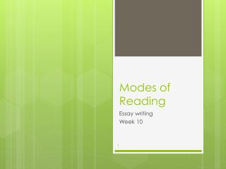 Modes of Reading