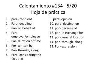 Calentamiento #134 –5/20 Hoja de práctica