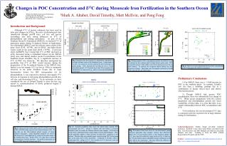 Changes in POC Concentration and  d 13 C during Mesoscale Iron Fertilization in the Southern Ocean