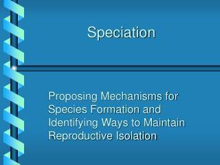 Speciation