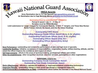 HNGA Awards Army Nomination due to 1LT Gel Agcaoili ( gel.agcaoili@us.army.mil )