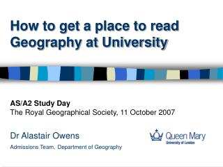 How to get a place to read Geography at University