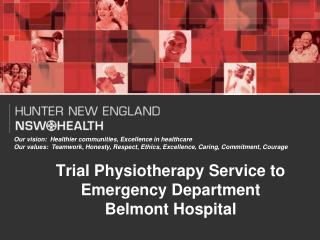 Trial Physiotherapy Service to Emergency Department Belmont Hospital