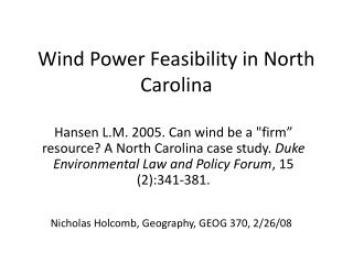 Wind Power Feasibility in North Carolina