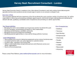 Harvey Nash Recruitment Consultant - London