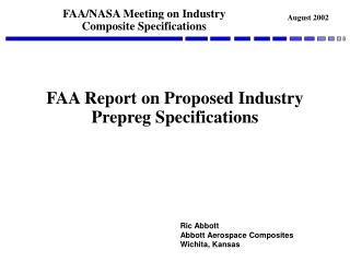 FAA Report on Proposed Industry Prepreg Specifications