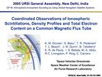 Coordinated Observations of Ionospheric Scintillations, Density Profiles and Total Electron Content on a Common Magnetic