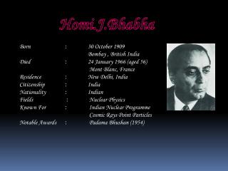 Born 		: 	 30 October 1909 Bombay , British India  Died  : 	 24 January 1966 (aged 56)