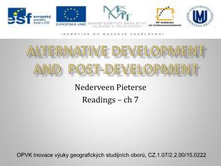 Alternative development  And  post-development