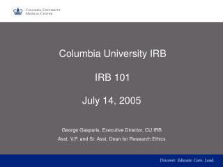 Columbia University IRB  IRB 101