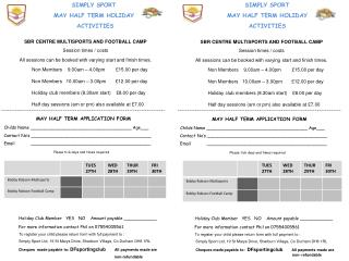 SIMPLY SPORT MAY HALF TERM HOLIDAY  ACTIVITIES