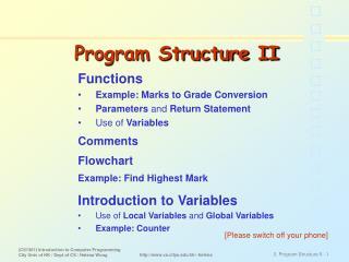 Program Structure II