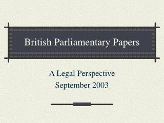 British Parliamentary Papers