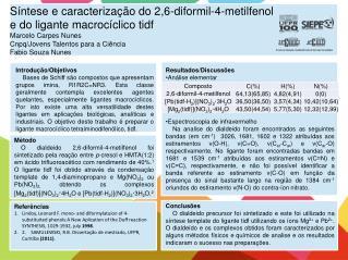 Resultados/Discussões Análise elementar Espectroscopia de infravermelho