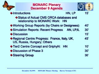 MONARC Plenary December 9 Agenda