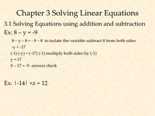 Chapter 3 Solving Linear Equations
