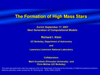 The Formation of High Mass Stars